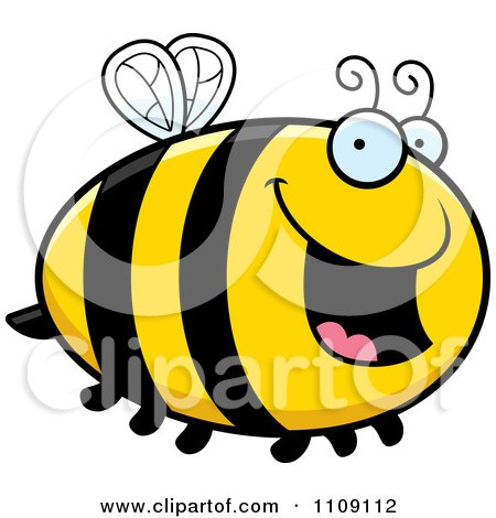 Clipart Chubby Happy Bee - Royalty Free Vector Illustration by Cory Thoman