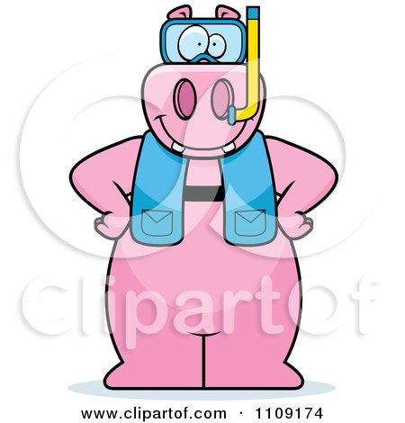 Clipart Hippo In Scuba Gear - Royalty Free Vector Illustration by Cory Thoman