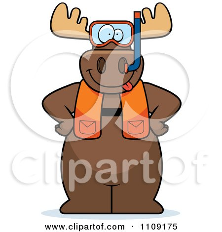 Clipart Moose In Scuba Gear - Royalty Free Vector Illustration by Cory Thoman