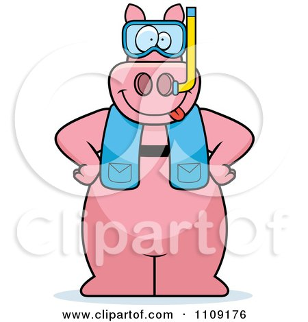 Clipart Pig In Scuba Gear - Royalty Free Vector Illustration by Cory Thoman