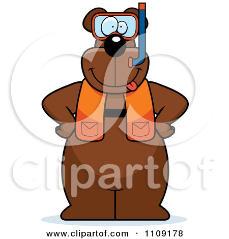 Clipart Bear In Scuba Gear - Royalty Free Vector Illustration by Cory Thoman