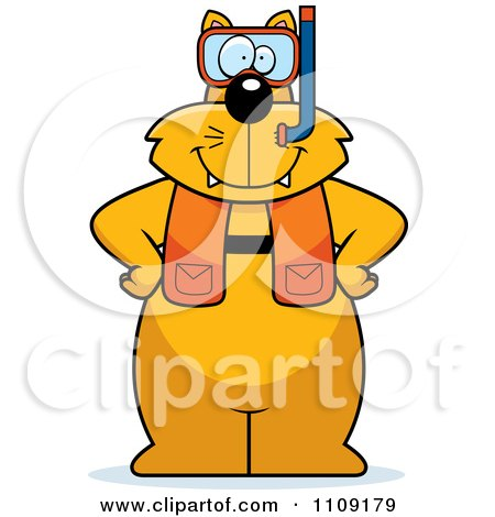 Clipart Cat In Scuba Gear - Royalty Free Vector Illustration by Cory Thoman