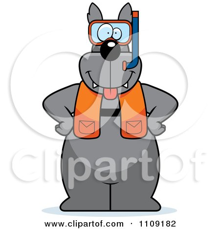 Clipart Wolf In Scuba Gear - Royalty Free Vector Illustration by Cory Thoman
