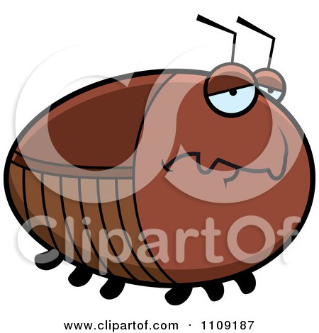 Clipart Chubby Depressed Cockroach - Royalty Free Vector Illustration by Cory Thoman