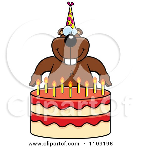 Clipart Gopher Making A Wish Over Candles On A Birthday Cake - Royalty Free Vector Illustration by Cory Thoman
