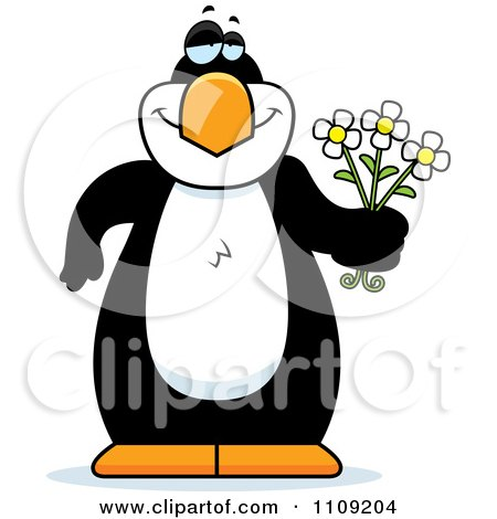 Clipart Amorous Penguin Holding Flowers - Royalty Free Vector Illustration by Cory Thoman