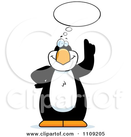 Clipart Penguin With An Idea - Royalty Free Vector Illustration by Cory Thoman