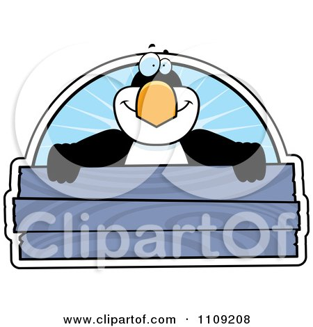 Clipart Penguin Holding A Wooden Sign - Royalty Free Vector Illustration by Cory Thoman