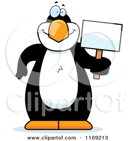 Clipart Penguin Holding A Sign - Royalty Free Vector Illustration by Cory Thoman