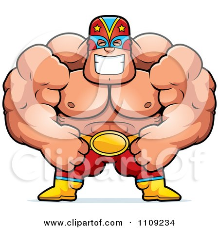 Y a t'il des fans de catch et de jdr? 1109234-Clipart-Strong-Luchador-Wrestler-Royalty-Free-Vector-Illustration