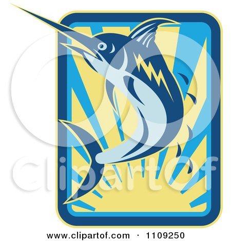 Clipart Retro Marlin Jumping Over A Sunset With Droplets - Royalty Free Vector Illustration by patrimonio