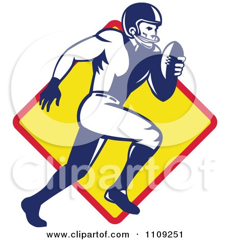Clipart Retro American Football Player Quaterback Running Over A Diamond - Royalty Free Vector Illustration by patrimonio