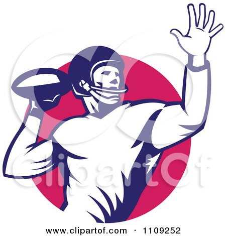 Clipart Retro American Football Player Quaterback Throwing The Ball Over A Circle - Royalty Free Vector Illustration by patrimonio