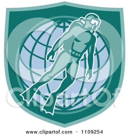 Clipart Retro Scuba Diver Over A Wire Globe And Shield - Royalty Free Vector Illustration by patrimonio