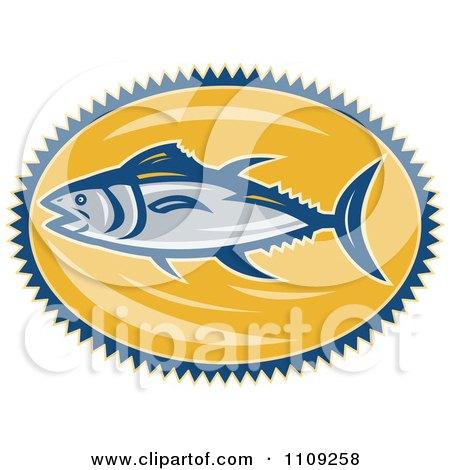 Clipart Retro Bluefin Tuna Fish Over A Yellow Oval - Royalty Free Vector Illustration by patrimonio