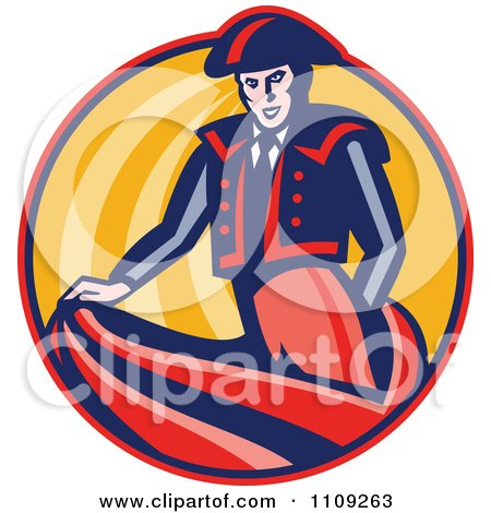 Clipart Retro Bullfighter Matador Swishing His Cape In A Circle - Royalty Free Vector Illustration by patrimonio