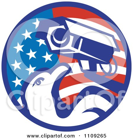 Clipart Retro American Surveillance Security Camera And Bald Eagle Over A Circle Flag - Royalty Free Vector Illustration by patrimonio