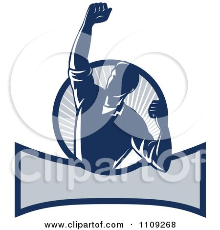 Clipart Retro Worker Pumping His Fist Over A Banner And Ray Circle - Royalty Free Vector Illustration by patrimonio