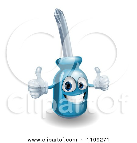 Happy 3d Compact Screwdriver Character Holding Two Thumbs Up Posters, Art Prints