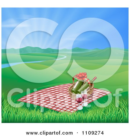 Clipart Picnic Blanket And Basket With Wine In A Hilly Spring Landscape With A River And Sunshine - Royalty Free Vector Illustration by AtStockIllustration