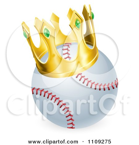 Clipart King Baseball Wearing A 3d Golden Crown - Royalty Free Vector Illustration by AtStockIllustration