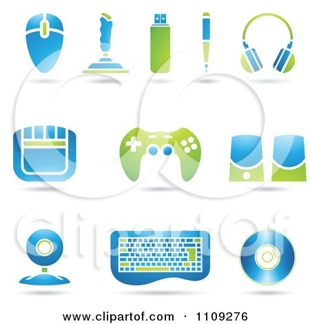 Clipart Green And Blue Computer And Gaming Accessories - Royalty Free Vector Illustration by cidepix