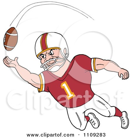 Clipart Caucasian American Football Player Receiver In A Burgundy Jersey Catching A Ball - Royalty Free Vector Illustration by LaffToon