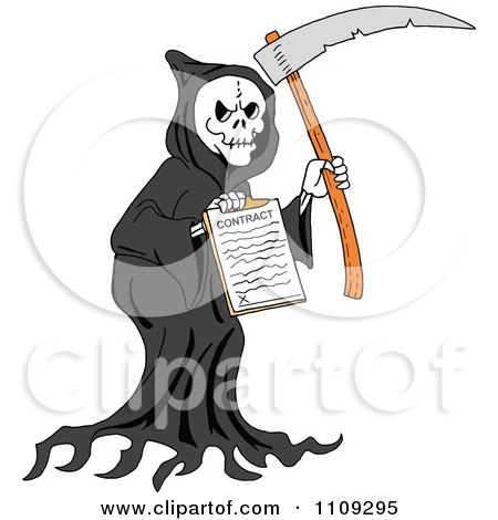 Clipart Grim Reaper Holding A Scythe And Contract - Royalty Free Vector Illustration by LaffToon