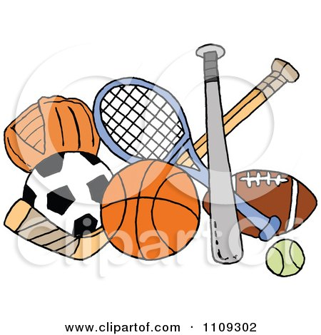 Clipart Baseball Soccer Basketball Hockey Tennis And Football Sports Equipment - Royalty Free Vector Illustration by LaffToon