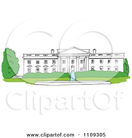 Clipart The White House Facade In Washington DC - Royalty Free Vector Illustration by LaffToon