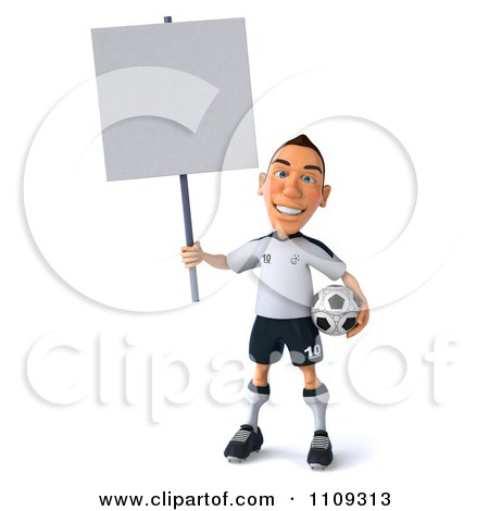 Clipart 3d White German Soccer Player Holding A Sign 2 - Royalty Free CGI Illustration by Julos