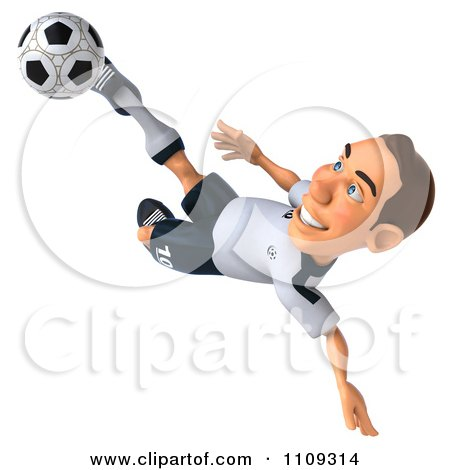 Clipart 3d White German Soccer Player 2 - Royalty Free CGI Illustration by Julos