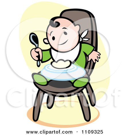 Happy Baby Eating In A High Chair Over Yellow Posters, Art Prints