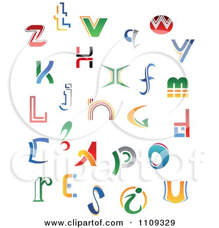 Clipart Abstract Colorful Letters A Through Z 6 - Royalty Free Vector Illustration by Vector Tradition SM