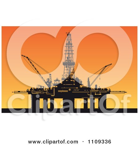 Clipart Silhouetted Oil Derrick Platform Against A Sunset - Royalty Free Vector Illustration by Vector Tradition SM