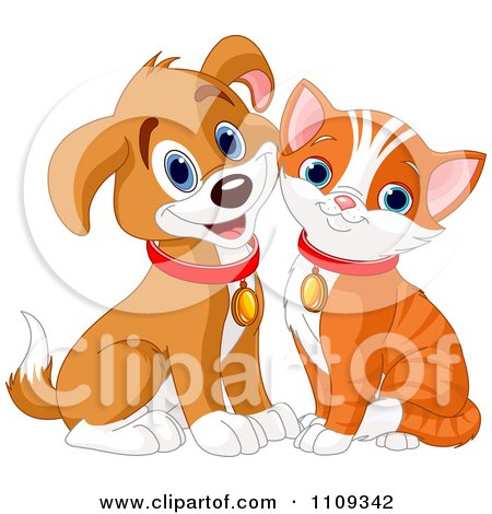 Clipart Cute Happy Orange Kitty And Beagle Puppy - Royalty Free Vector Illustration by Pushkin