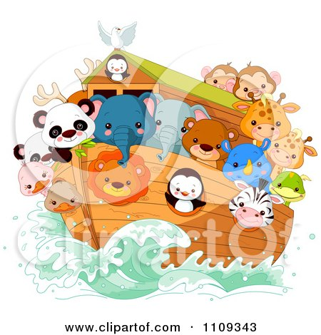 Clipart of a Christian Bible Story Scene of Noah on His Ark with ...
