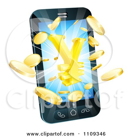 Clipart 3d Cell Phone With Gold Coins And A Yen Symbol Bursting From The Screen - Royalty Free Vector Illustration by AtStockIllustration