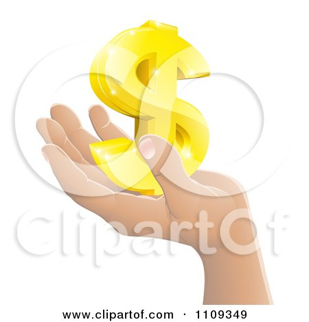 Clipart Hand Holding A 3d Gold Dollar Symbol - Royalty Free Vector Illustration by AtStockIllustration