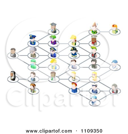 Clipart Network Of 3d Occupational People - Royalty Free Vector Illustration by AtStockIllustration