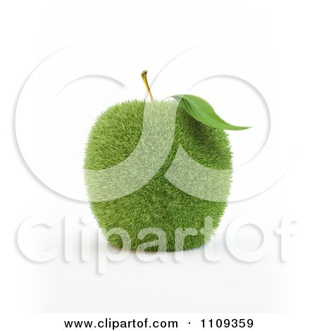 Clipart 3d Grassy Green Apple - Royalty Free CGI Illustration by Mopic