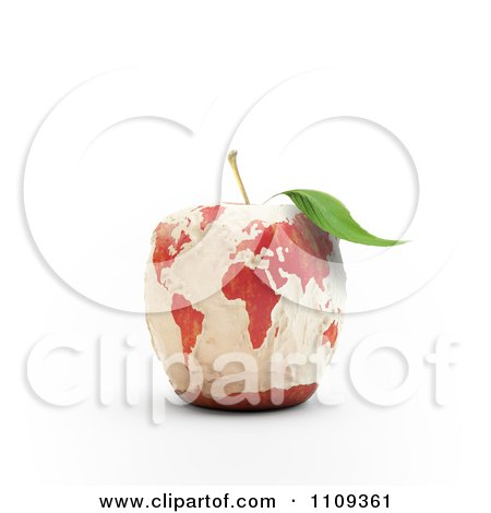 Clipart 3d Carved Apple With A World Map - Royalty Free CGI Illustration by Mopic