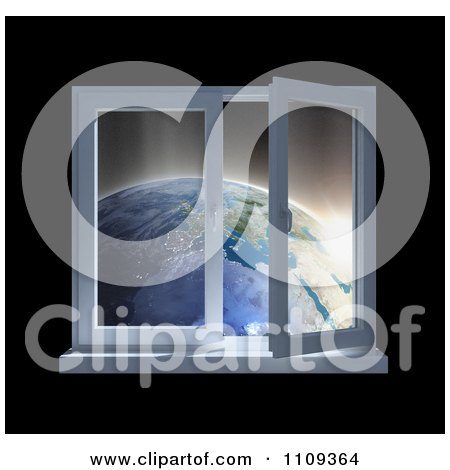 Clipart 3d Paneled Window Open With A View Of Earth At Sunrise - Royalty Free CGI Illustration by Mopic