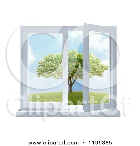 Clipart 3d Paneled Window Open With A View Of A Tree In A Meadow - Royalty Free CGI Illustration by Mopic