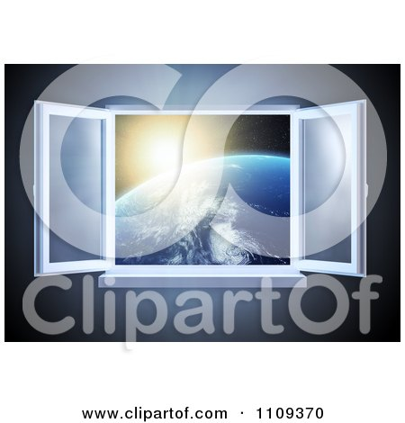 Clipart 3d Paneled Window Open With A View Of The Sun Rising Over The Earth - Royalty Free CGI Illustration by Mopic
