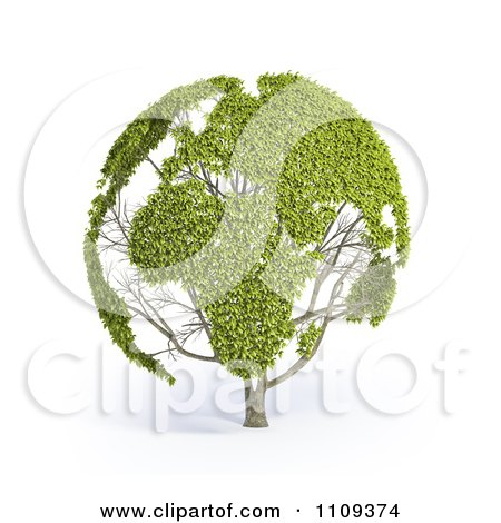 Clipart 3d Leafy World Map On A Tree - Royalty Free CGI Illustration by Mopic