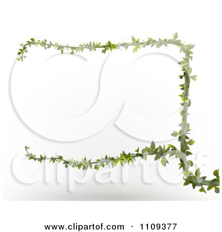 Clipart 3d Green Branch Forming A Frame - Royalty Free CGI Illustration by Mopic