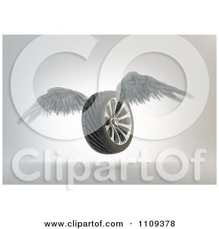 Clipart 3d Winged Tire Flying - Royalty Free CGI Illustration by Mopic