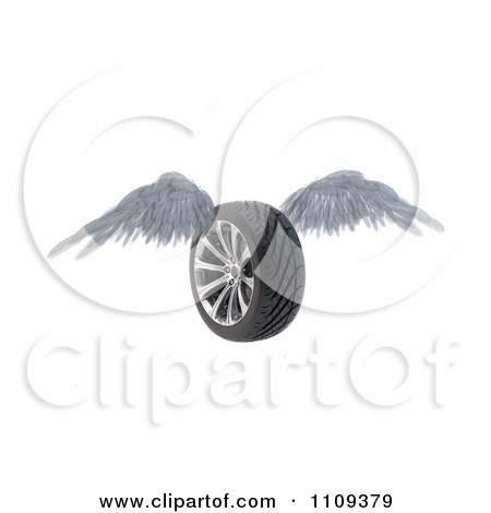 Clipart 3d Winged Wheel Flying - Royalty Free CGI Illustration by Mopic