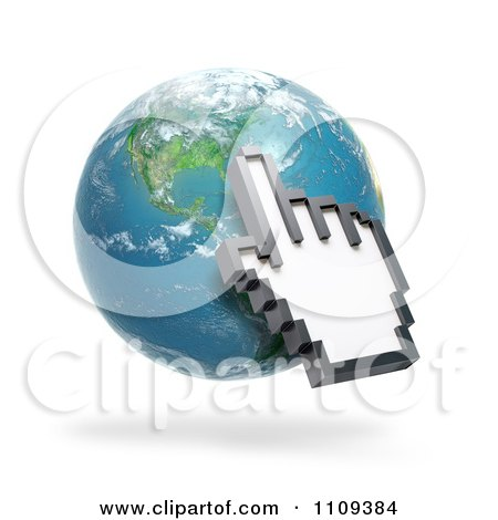 Clipart 3d Hand Shaped Computer Cursor Pointing To North America On A Globe - Royalty Free CGI Illustration by Mopic